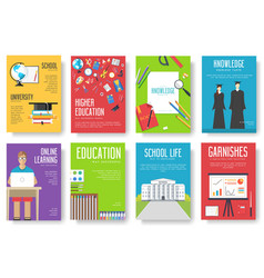 Back to school information cards set student vector