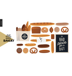 Bakery - small business graphics - various bread vector
