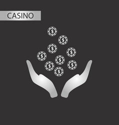 black and white style coins in hand vector image