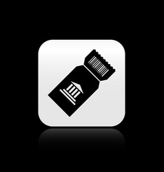 Black museum ticket icon isolated on black vector