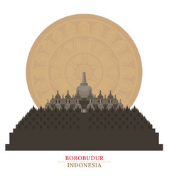 Borobudur indonesia with decoration background vector