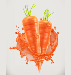 Carrot juice fresh vegetable 3d icon vector