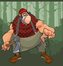 cartoon terrible fat lumberjack with an ax in the vector image