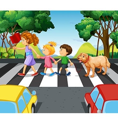 Children and dog crossing the road vector image