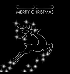 Christmas card abstract silhouette of a deer vector