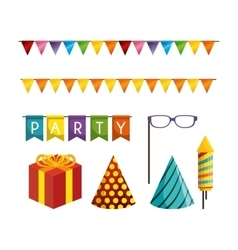 Collection elements decoration carnival party vector