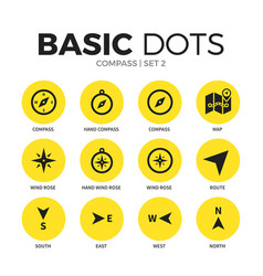 Compass flat icons set vector