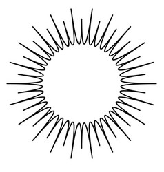 Contour element with radial lines isolated on vector
