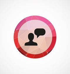 conversation circle pink triangle background icon vector image