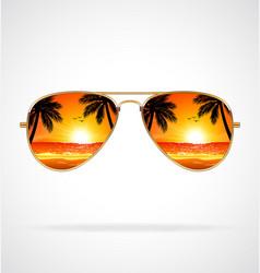 Cool aviator sunglasses sunset beach gold frames vector