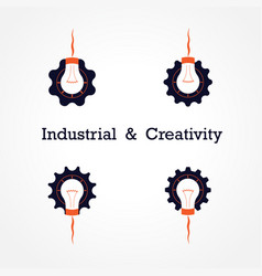 creative light bulb and gear abstract design vector image