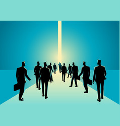 crowd of people walking into narrow path vector image