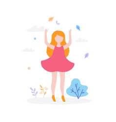 cute girl jumping outdoors in park isolated on vector image