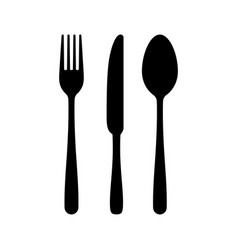 Cutlery silhouettes fork spoon knife black icon vector