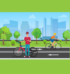 Cyclists in the park man vector