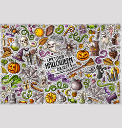 Doodle cartoon set halloween theme objects and vector