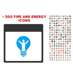 electrician calendar page icon with bonus power vector image