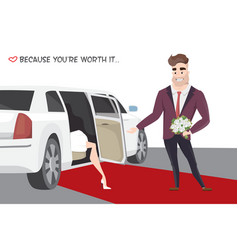 Famous girl out of limo on red carpet vector