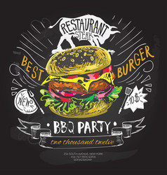 Fast food logo design template hamburger vector