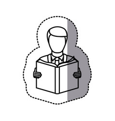 Figure emblem man to read a book icon vector