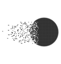 Filled circle disintegrating pixel icon vector