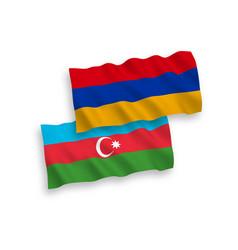 Flags azerbaijan and armenia on a white vector