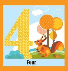 Flat animal numbers 4 vector