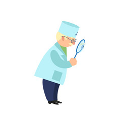 Flat grey-haired doctor holding magnifier vector