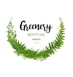 Floral card with green eucalyptus fern leaves vector