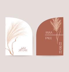 floral wedding invitation pampas grass boho card vector image