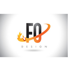 fo f o letter logo with fire flames design and vector image