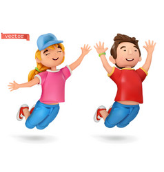 Funny kids girl and boy 3d cartoon icon vector
