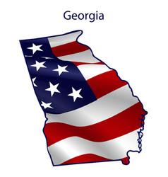 georgia full american flag waving in wind vector image