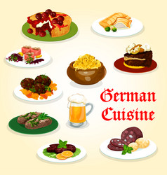 German cuisine dinner with sausage and beer icon vector