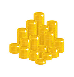 gold coins mountain cartoon style isolated vector image