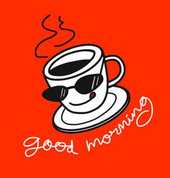 good morning coffee cartoon on orange vector image