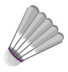 Grey shuttlecock icon cartoon style vector