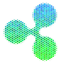 Halftone blue-green ripple currency icon vector