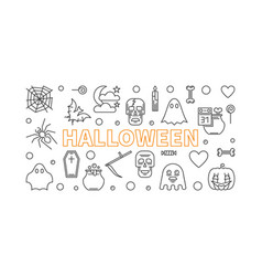 halloween line horizontal banner or holiday vector image