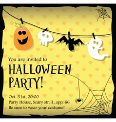 Halloween party invitation card with ghostbat vector image vector image