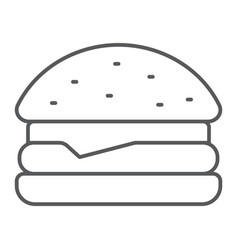 hamburger thin line icon food and bakery vector image
