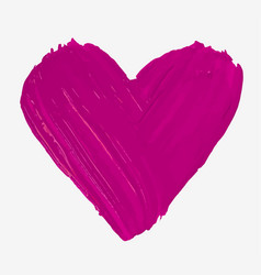 Hand painted with brush isolated big pink heart vector