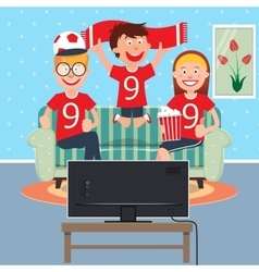Happy family watching football together on tv vector
