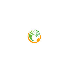 happy man care organic ecology logo vector image