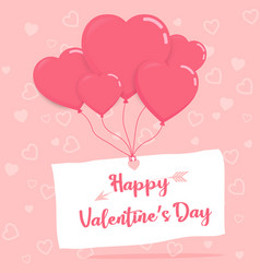 happy valentineday on paper with heart balloons vector image