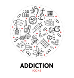 harmful addictions round concept vector image
