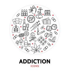 Harmful addictions round concept vector