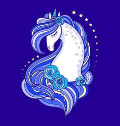 head a beautiful unicorn with a long blue vector image