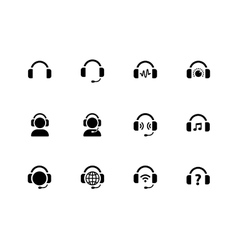 Headphones icons on white background vector