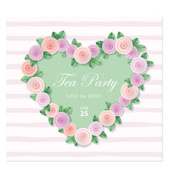 heart decorated with roses template birthday vector image